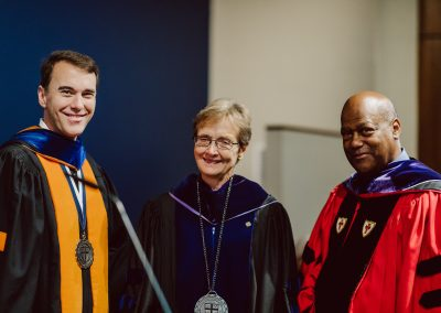Dr. Elaine Phillips celebrates her installation to the Harold J. Ockenga Chair of Biblical Studies, with President D. Michael Lindsay and Chairman Herman Smith